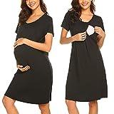 MAXMODA Damen Nachthemd für Schwangerschaft Stillnachthemd Kurzarm Baumwolle Sleepshirt schwarz L