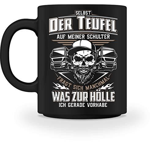 Fahrer Fernfahrer Teufel Brummifahrer Geschenk - Tasse -M-Schwarz ()