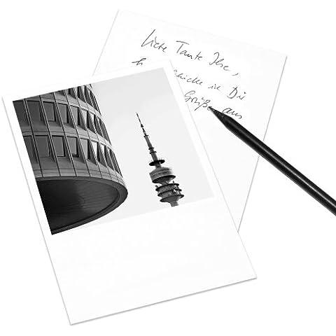 Juego de 5 tarjetas postales Munich en el estilo de Polaroid - retrato DIN A6 - Arquitectura Alemania - Tema: BMW-Vierzylinder