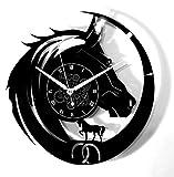 Instant Karma Clocks Horloge Murale en Vinyle Instant Karma-Voyage Trekking Équitation - Cheval Vintage Silencieux