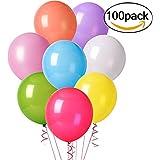 Cookey 100 pcs Assortiment de Ballons de Fête de Couleur pour Fête D'anniversaire de Mariage - 12 inch Ballons en Latex