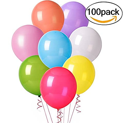 Cookey 100 Pcs Assorted Color Party Balloons for Wedding Birthday Party - 12 inch Latex Balloons
