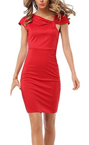Frauen Kleid Sommerkleider Etuikleider Kurzarm Paket Hüfte Herbst Geöffnete  Gabel Dünn Reißverschluss Einfarbig Rot