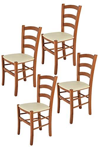 Tommychairs 4er Set Stühle Venice robuste Struktur aus lackiertem Buchenholz im Farbton Kirschbaum und Sitzfläche mit Kunstleder in der Farbe Elfenbein bezogen. Set bestehend aus 4 Stühlen Venice (Kirschbaum Stühle Esszimmer)
