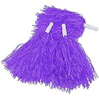 12 Pompones Animadora Para Fútbol Baloncesto Equipo Cheers Con Mango Plástico Handheld Creative Pom Poms Cheer_Pom Dance Party Club (purple)