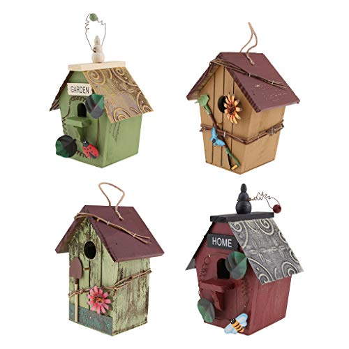 FLAMEER 4er/Set Retro Vogel Nisthöhle/Vogelhaus für Kleinvögel Rotschwänzchen, super Villa für Kleinsingvög