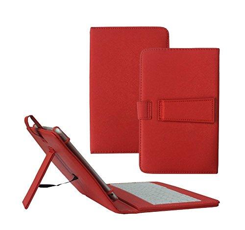Tsmine Lenovo IdeaTab A8-50 8-Zoll-Tablet-Tastatur-Hülle - Micro-USB-Tastatur w / PU Ledertasche Standabdeckung für Lenovo IdeaTab A8-50 8-Zoll-Tablet-PC, rot