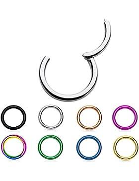 Treuheld® | SEGMENT Clicker PIERCING - 29 Farben & Größen - HELIX SEPTUM Tragus Ohr Nase Lippe - SEGMENTRING klappbarer...