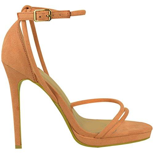 Sandales à talons aiguille - très fines/à brides - pour soirée - femme Faux suède couleur pêche/été