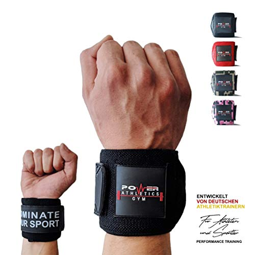 Power Athletics Gym Handgelenk Bandagen [Wrist Wraps] 60 cm Handgelenkbandage für Fitness, Bodybuilding, Kraftsport & Crossfit - für Frauen und Männer - Mit Videoanleitung