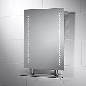 Belice LED Bathroom Mirror with Lights 450mm(W) x 600mm(H) with Sensor Switch, Shaver Socket and Full Size Demister Pad for Bathroom by Pebble Grey