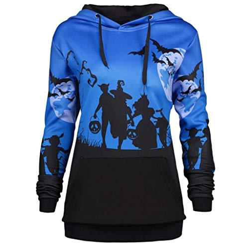 URSING Damen Pullover Frauen Retro Halloween Moon Bat Print Kordelzug Tasche Hoodie Sweatshirt mit Kapuze Kapuzenpullover mit Tunnelzug Kapuzenshirt Streetwear Halloween Kostüm (Dlau,XL)