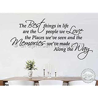 Graphics 'n' Tees - Family Wall Sticker Inspirational Quote, Best Things In Life, Bedroom Lounge Home Wall Sticker -In Black Available (Large 920mm x 455mm)
