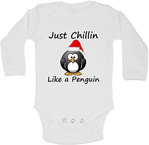 Just Chillin Like a Penguin-Personalisierte Lange Ärmel Baby Westen Bodys Baby wächst-Unisex (Jungen, Mädchen)-Weiß-18-24Monate - Chillin Lange Ärmel