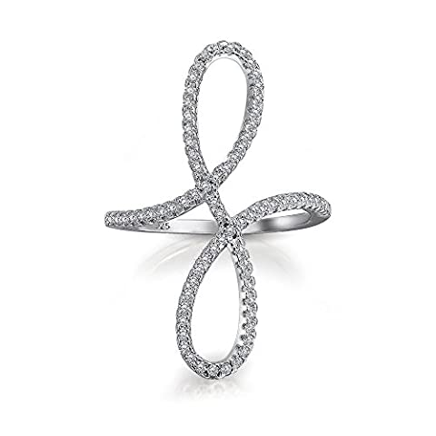 Bling Jewelry ebnen modernen Swirl CZ Erklärung Infinity Ring Sterling Silber
