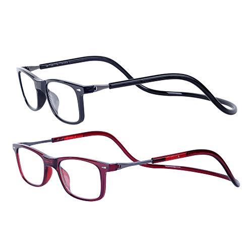Magnéticas Gafas de lectura Plegables 2-Pack Negro Rojo +1.5 Presbicia Vista para Hombre y Mujer Montura Regulable Colgar del Cuello y Cierre con Imán +1.5(50-54 años)