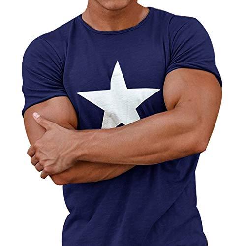 Herren T-Shirt mit Frontprint und Rundhalsausschnitt Star T-Shirt Motiv Bedruckt Größe Fitnessübung Laufen Bergsteigen S-XXXL