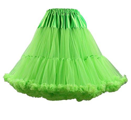 Donna multistrato Ruffle Frilly Tutu Gonne Balletto di Tulle Principessa Petticoat Tutù Di Tulle Gonna Fruit verde