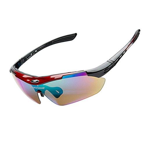 ROBESBON Polarisierte Fahrradbrille 5 Wechselgläser Kunststoff Rahmen Sonnenbrille UV400 Sportbrille Brillenetui Brillenbeutel Radbrille - Rot und Schwarz Rahmen