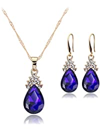 FOCALOOK 7 Chakra Tree of Life Jewelry Set, Rainbow Color Crystal Wire Wrapped Pendant Necklace & Hook Earrings