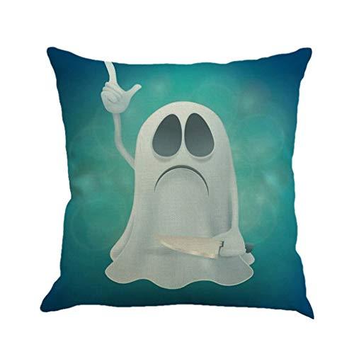 Mengonee Halloween Pillowcase Dekokissen Abdeckung Clever Geist schönes Bild für Leinenkissenbezug 45x45cm