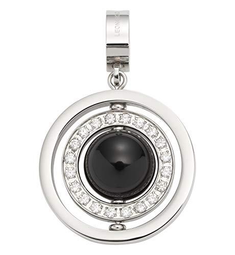 JEWELS BY LEONARDO DARLIN'S Damen-Anhänger Donare, Edelstahl mit schwarzer Glaskugel und Zirkoniasteinen, CLIP & MIX System, Größe (B/H/T): 26/42/12mm