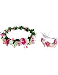 Loops N Knots Combo Of Pink & White Floral Tiara/Crown With Wrist Band/Puff Wrap For Girls & Women