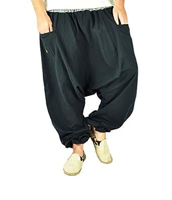 virblatt bonzaai sarouel femme mode hippie pantalon de yoga un berlegt extra large noir. Black Bedroom Furniture Sets. Home Design Ideas