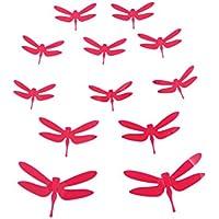 Winhappyhome rimovibile 3D etichette autoadesive Dragonfly in plastica per lo
