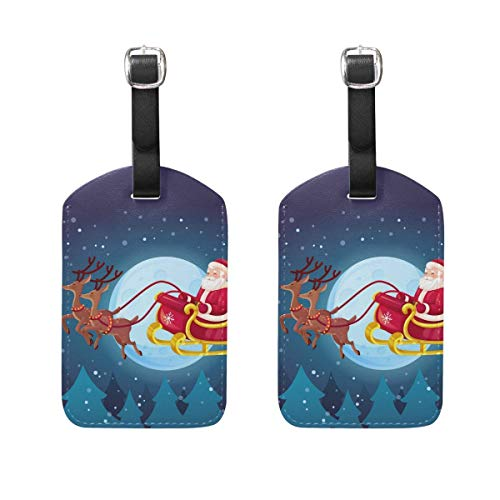 Pretty Christmas Gingerbread Man Luggage Tags 2 PCS Travek Bag Labels Suitcase Tag for Men and Women 00df5201
