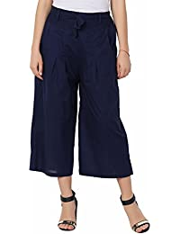 Navy Blue Culottes Cotton Pants For Women - Dark Blue 100% Cotton Culottes Pants For Girls - Wide Leg Comfortable...