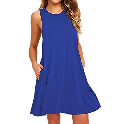 DAYSEVENTH DRESS Clearance Women O Neck Casual Pocket Sleeveless Solid Loose Swing Party Dress(Red, X-Large(UK 12))