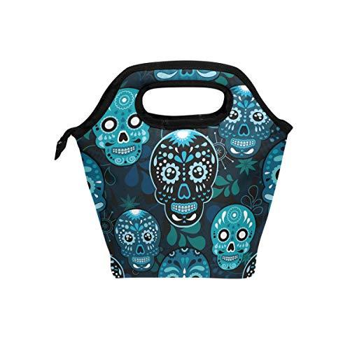 hunihuni Mexiko Sugar Skull Isolierte Thermo-Lunch Kühltasche Tote Bento Box Handtasche Lunchbox mit Reißverschluss für Schule, Büro, ()