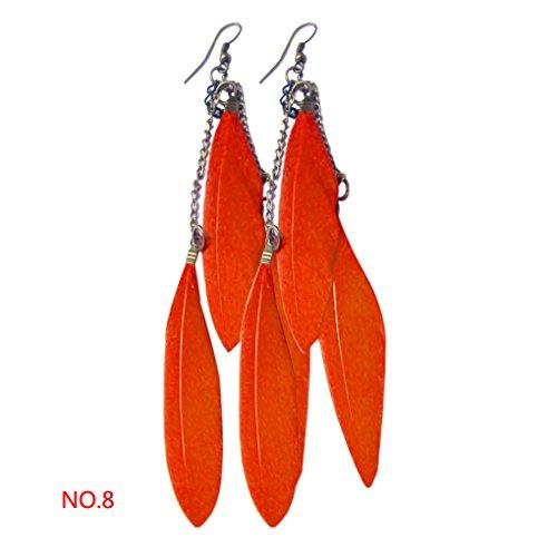 Babysbreath Women Tassel Earrings Feather Drop Dangle Hook Earrings