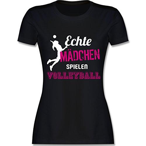 Volleyball - Echte Mädchen Spielen Volleyball - S - Schwarz - L191 - Damen Tshirt und Frauen T-Shirt -