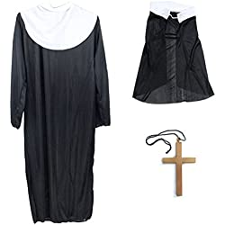 BESTOYARD Disfraces de Halloween Nun Costume Robe Clothes Headscarf Big Cross Disfraces Traje para Mujeres 3 unids