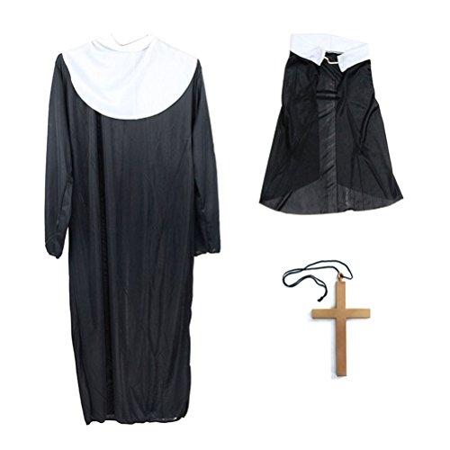 BESTOYARD Halloween Nonne Anzug Kostüme Robe Kleidung Kopftuch mit Großen Gold Kreuz für Halloween Party ()