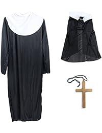 BESTOYARD Halloween Nonne Anzug Kostüme Robe Kleidung Kopftuch mit Großen Gold Kreuz für Halloween Party Gefallen