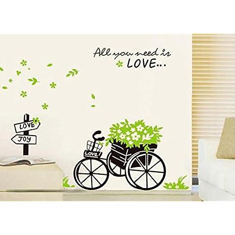 Dibujos animados triciclo sofá salón TV fondo murales decoración mural decorado con flores