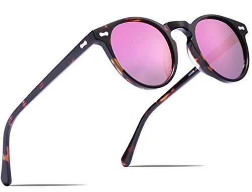Carfia Retro Runde Sonnenbrille Outdoor Polarisierte Sonnenbrille für Damen Herren, 100% UV 400 Schutz (Rahmen: Schildpatt; Linsen: Pink)