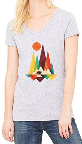 Mountains Minimalistic Bear Women's V-Neck T-shirt Gris