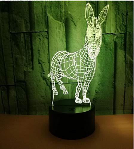 Rqcaxy 3D-Nachtlicht Tier 驴 3D-Nachtlicht Bunte Touch-Fernbedienung 3D-LED-Tischlampe Tippen Sie auf Bunte 3D-Tischlampe