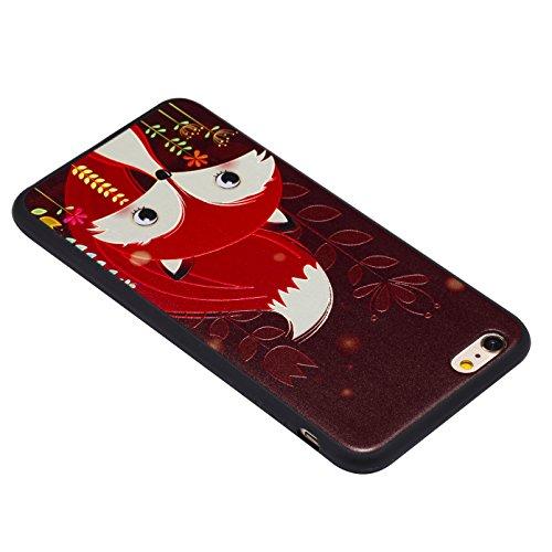 iPhone 6 Plus Hülle, Voguecase Silikon Schutzhülle / Case / Cover / Hülle / TPU Gel Skin für Apple iPhone 6 Plus/6S Plus 5.5(Grüne Eule) + Gratis Universal Eingabestift Rot Fuchs 05