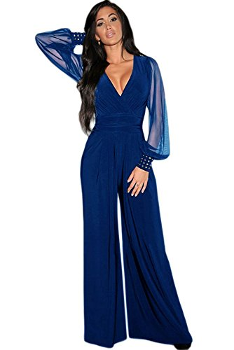 tuta elegante pantaloni lungo jumpsuit vestito abito cerimonia da donna  -Blue-XXL 46b4197b6a4