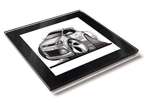 Koolart Karton Auto Volkswagen VW Polo Gti Marke 5 Glas Tisch Untersetzer mit Geschenkverpackung - Silbern, 10cm x 10cm