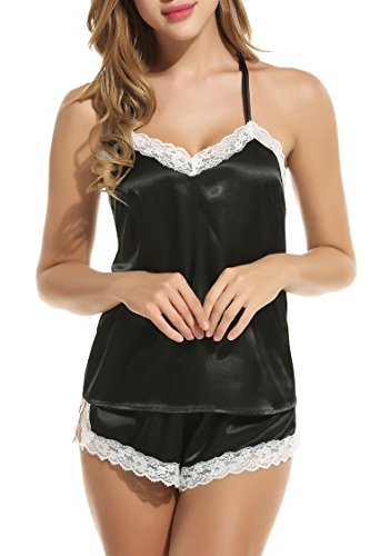 Avidlove Nachtwäsche Damen Sexy Set Schlafanzüge Satin Kurz Träger Nachthemd Babydoll Pyjama Shorts Spitze Negligee Dessous Stil 1: Schwarz