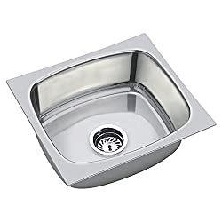 SS Sink Stainless Steel Single Bowl -(Chrome, 18*16*8 inches)