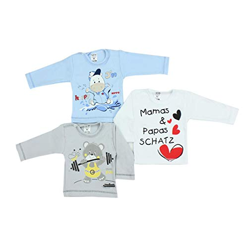 TupTam TupTam Unisex Baby Langarmshirt mit Spruch Aufdruck 3er Set, Farbe: Junge, Größe: 56