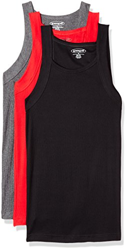 Papi Herren 3 Pack Square Neck Tank top Unterhemd, Intensity Red/Charcoal/Black, Small - Square Tank