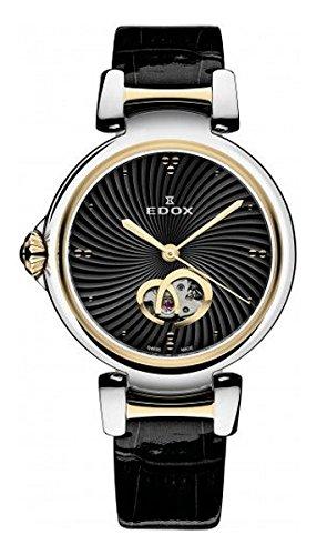 EDOX de la mujer 85025357rc IIN lapassion pantalla analógica Swiss–Reloj automático negro